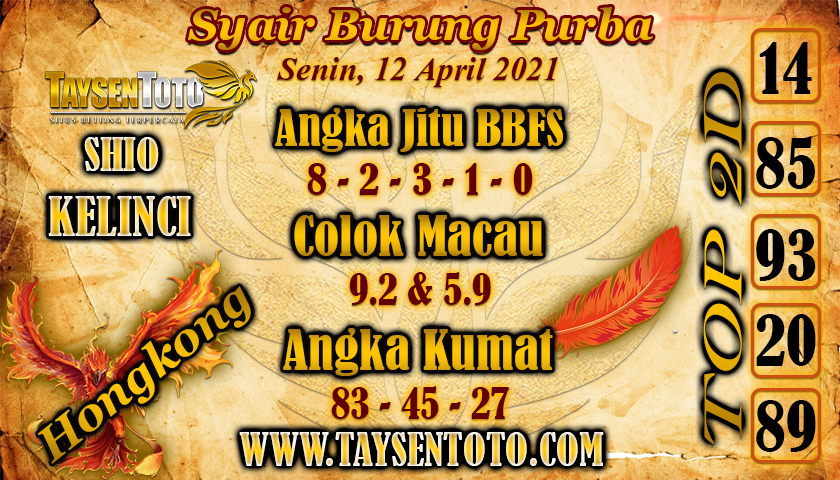 Syair Burung Purba HK Hari Ini 12 April 2021